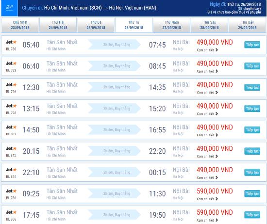 Giá vé máy bay Sài Gòn đi Hà Nội hãng Jetstar tháng 9/2018