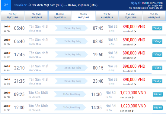 Giá vé máy bay Sài Gòn đi Hà Nội hãng Jetstar tháng 7/2018 từ 890,000VNĐ