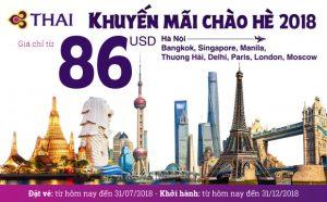 Thai Airways – khuyến mãi hot cực hè 2018, bay quốc tế chỉ từ 86 USD