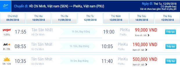Giá vé máy bay đi Pleiku mới nhất