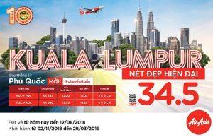 AirAsia khuyến mãi đường bay mới Phú Quốc – Kuala Lumpur chỉ từ 34.5 USD