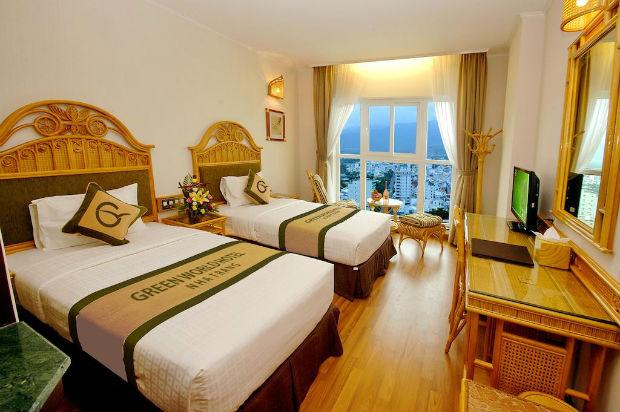 Căn phòng tiện nghi tại Green World Hotel Nha Trang