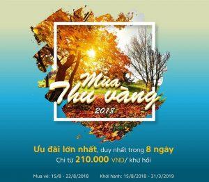 Khuyến mãi Mùa thu vàng Vietnam Airlines bay khứ hồi chỉ từ 210.000 đồng