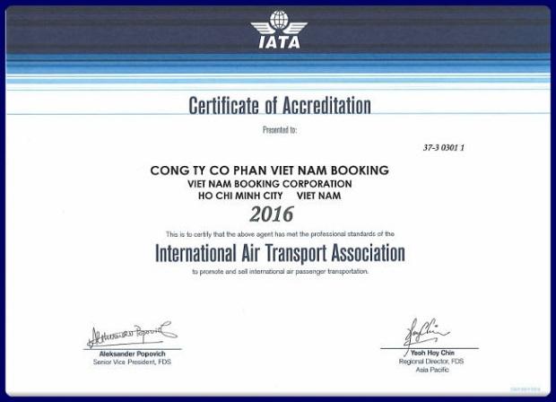 Vietnam Booking nhận Chứng nhận của IATA - Hiệp hội Vận tải Hàng không Quốc tế