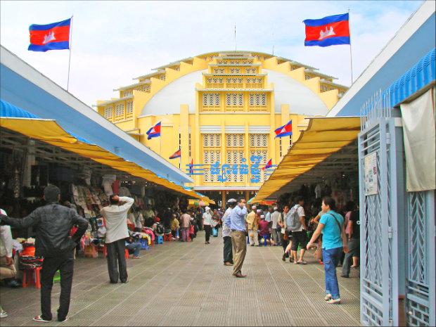 Chợ Mới ở thủ đô Phnom Penh - tour du lịch Campuchia từ Hà Nội