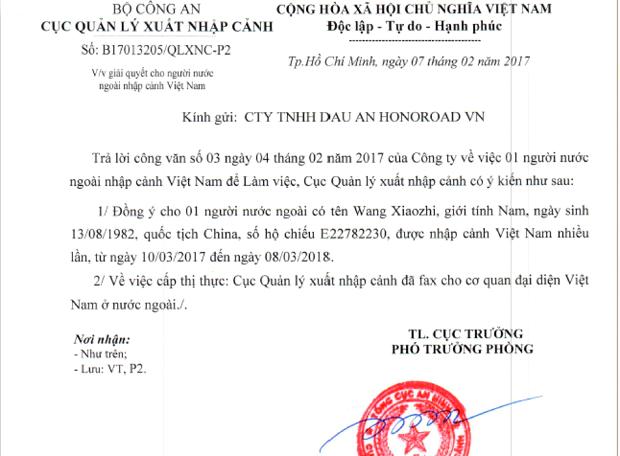 Cong van bao lanh nhap canh cho nguoi nuoc ngoai