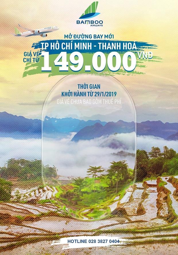Đặt mua vé máy bay TP HCM Thanh Hóa Bamboo Airways ngay hôm nay