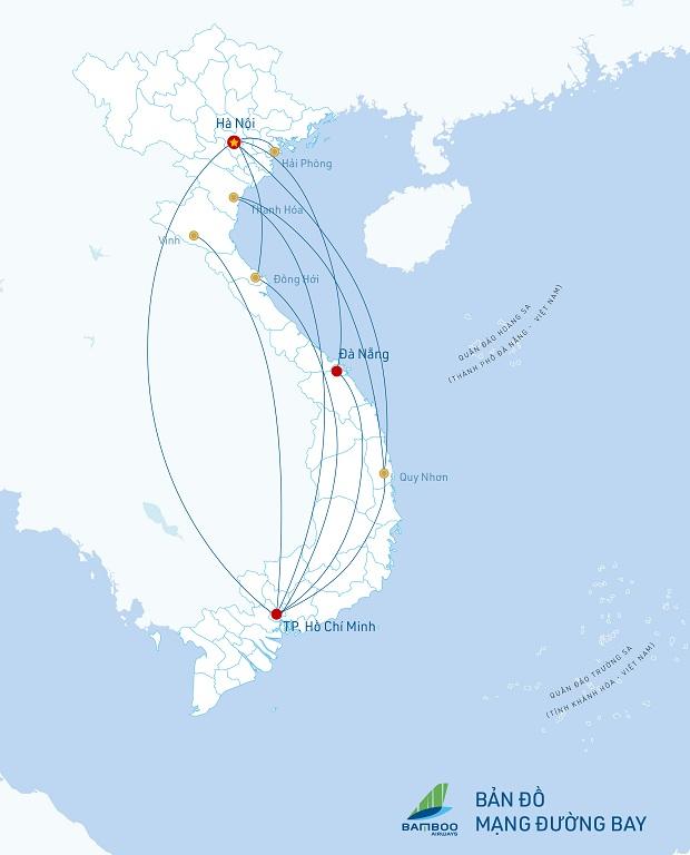 Hệ thống mạng đường bay Bamboo Airways