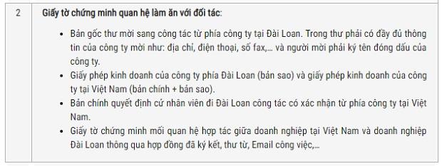 Visa Đài Loan công tác
