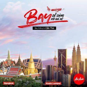 Air Asia mở đường bay mới kết nối Cần Thơ với Bangkok, Kuala Lumpur