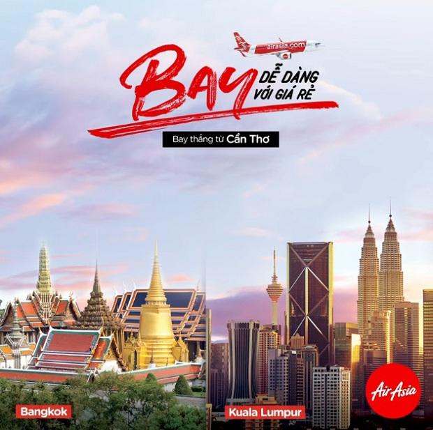 Đặt vé máy bay AirAsia Cần Thơ - Bangkok. Cần Thơ - Kuala Lumpur ngay bây giờ