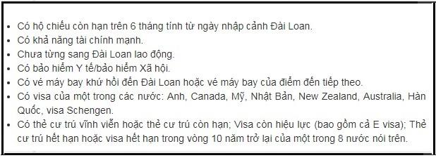 visa Đài Loan online