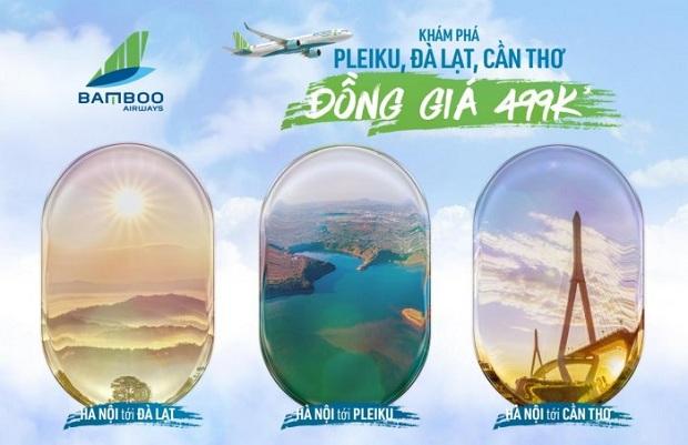 Vé máy bay Bamboo Airways Hà Nội đi Đà Lạt, Pleiku, Cần Thơ