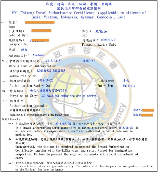 visa nhập cảnh nhiều lần Đài Loan