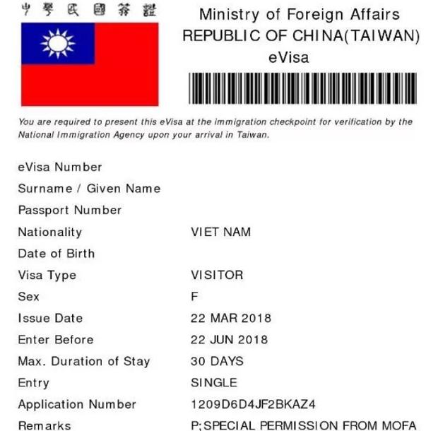 visa quan hồng Đài Loan là gì