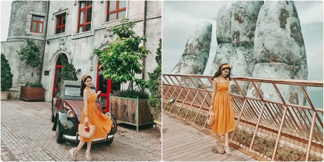 Váy midi nhẹ nhàng - trang phục thích hợp đi du lịch đà nẵng