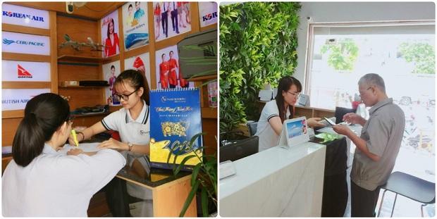 Khách hàng đến Phòng vé máy bay của Vietnam Booking