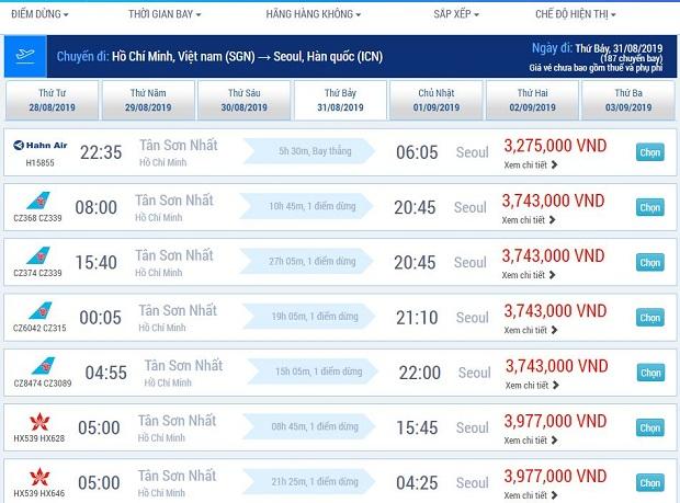 Đặt vé máy bay đi Hàn Quốc Online