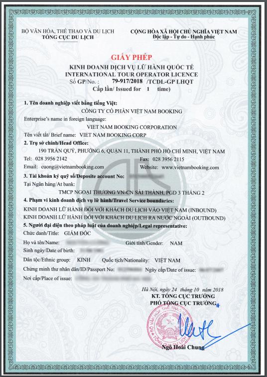 Giấy phép lữ hành quốc tế của công ty du lịch tphcm Vietnam Booking