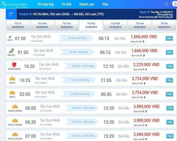 Hệ thống đặt vé máy bay đi Đài Loan trực tuyến Việt nam Booking