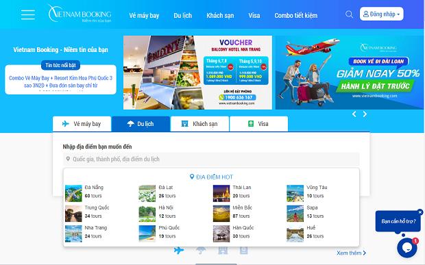 Website đặt tour du lịch của công ty du lịch Vietnam Booking tphcm