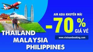 HOT! Air Asia giảm đến 70% giá vé đi Thái Lan, Malaysia, Philippines