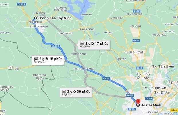 Tuyến đường từ Tp.HCM đi đến trung tâm các khách sạn Tây Ninh